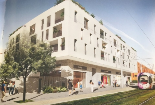 Vente en VEFA quartier près d'arènes : LOCAL COMMERCIAL pied d'immeuble de 305m² + 5 places de parking en sous-sol